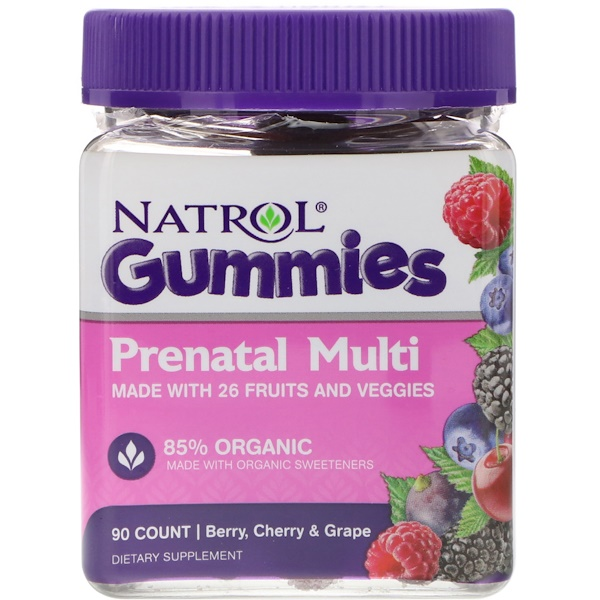 Natrol, Gummies, Prenatal Multi, Berry, Cherry & Grape, 90 Count