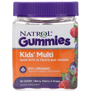 Natrol, Gummies, Kids' Multi, Berry, Cherry & Grape, 90 Count