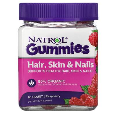 Natrol Жевательные таблетки, Для волос, кожи и ногтей, Малина, 90 штук