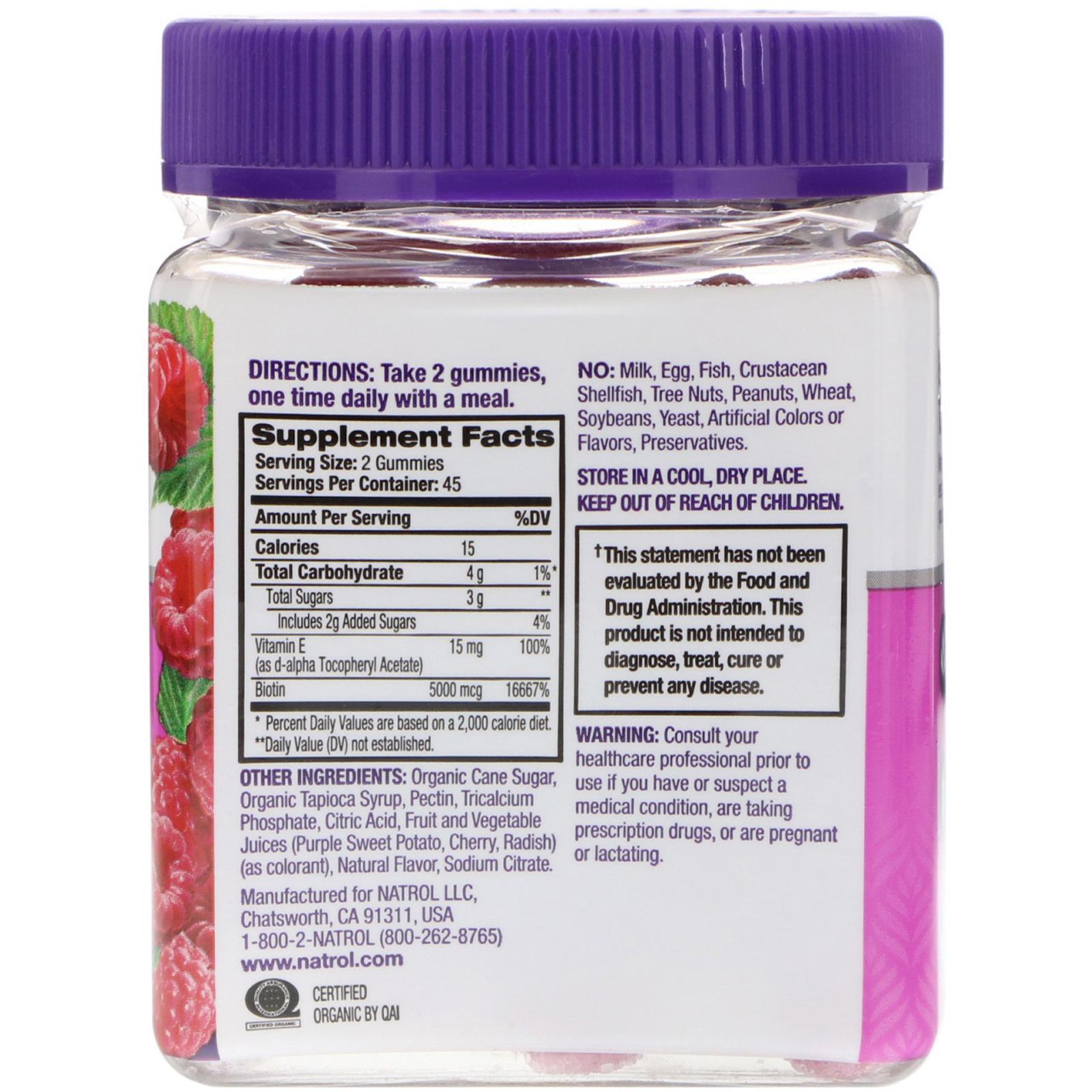 Natrol Gummies Hair Skin Nails Raspberry 90 Count Iherb