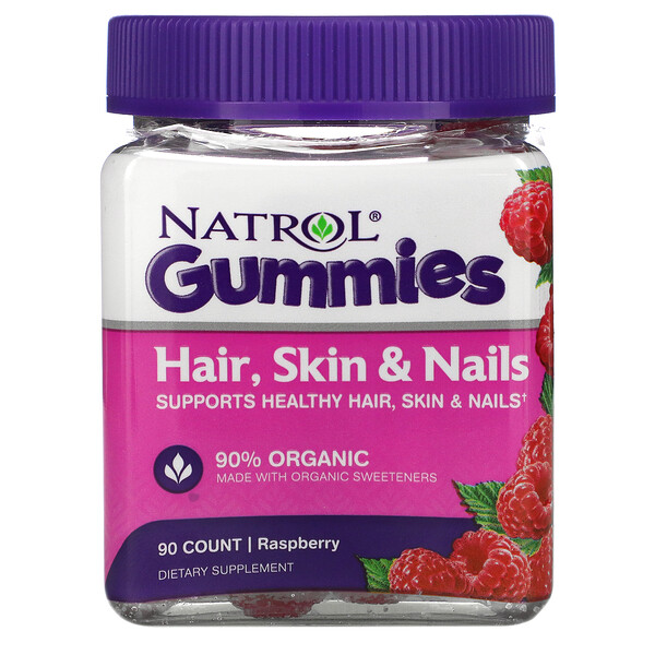 Natrol, Gummies, Hair, Skin & Nails, Raspberry, 90 Count