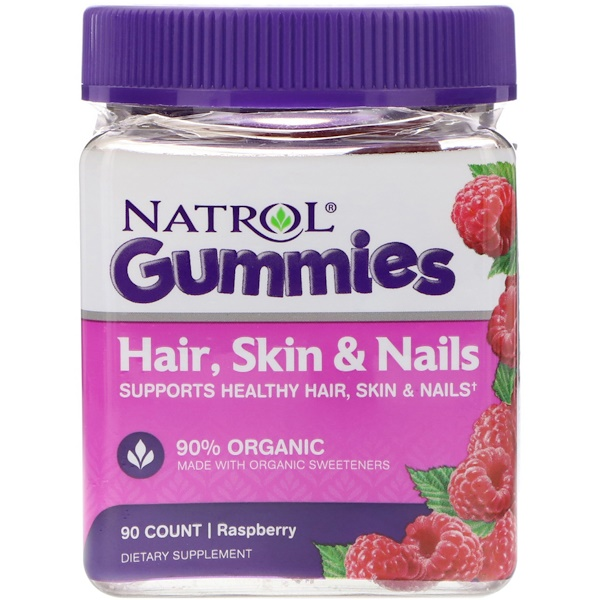 Gummies, Hair, Skin & Nails, Raspberry, 90 Count