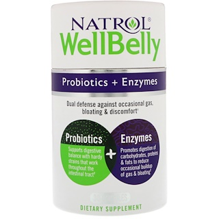 Natrol, WellBelly، بروبيوتيك + أنزيمات، 30 كبسولة