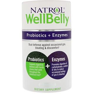 Natrol, WellBelly(ウェル・ベリー)、プロバイオティクス + 酵素、カプセル30個