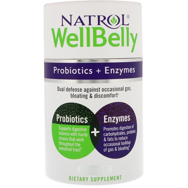 Natrol, WellBelly, Probiotics + Enzymes, 30 Capsules (Discontinued Item)
