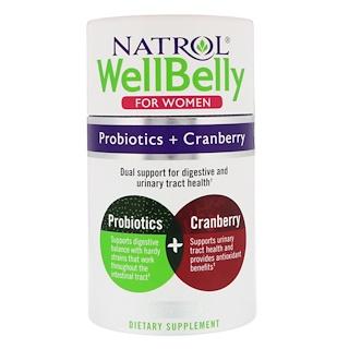 Natrol, WellBelly، البروبيوتيك + التوت البري، للنساء، 30 كبسولة