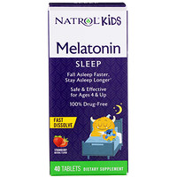 Natrol, Kids, Melatonin, Strawberry Natural Flavor, 40 Tablets