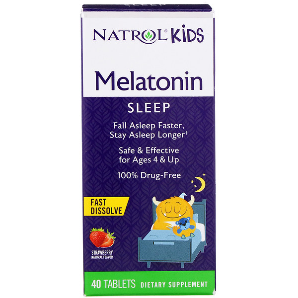Kids, Melatonin, Strawberry Natural Flavor, 40 Tablets