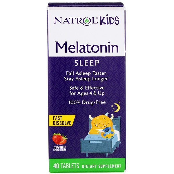Natrol, Kids, Melatonin, Ages 4 & Up, Strawberry, 40 Tablets