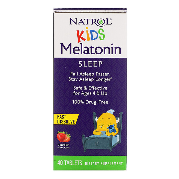 Kids, Melatonin, Ages 4 & Up, Strawberry, 40 Tablets