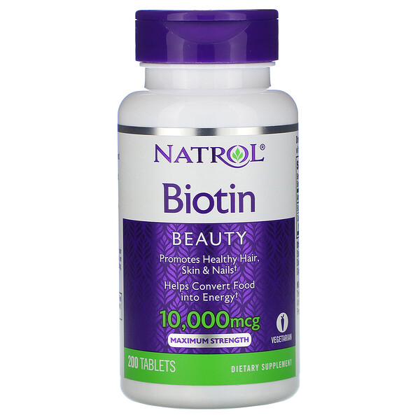 Natrol, Biotin, Maximum Strength, 10,000 mcg, 200 Tablets