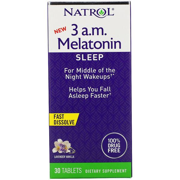 3 A.M. Melatonin, Fast Dissolve, Lavender Vanilla, 30 Tablets
