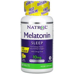 Natrol, Melatonin, Fast Dissolve, Maximum Strength, Citrus, 10 mg, 60 Tablets'