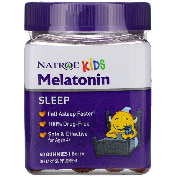 Natrol, Kids, Melatonin, Ages 4+, Berry, 60 Gummies