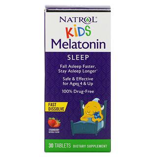 Natrol, Kids, Melatonin,  Fast Dissolve, Ages 4 & Up, Strawberry, 30 Tablets