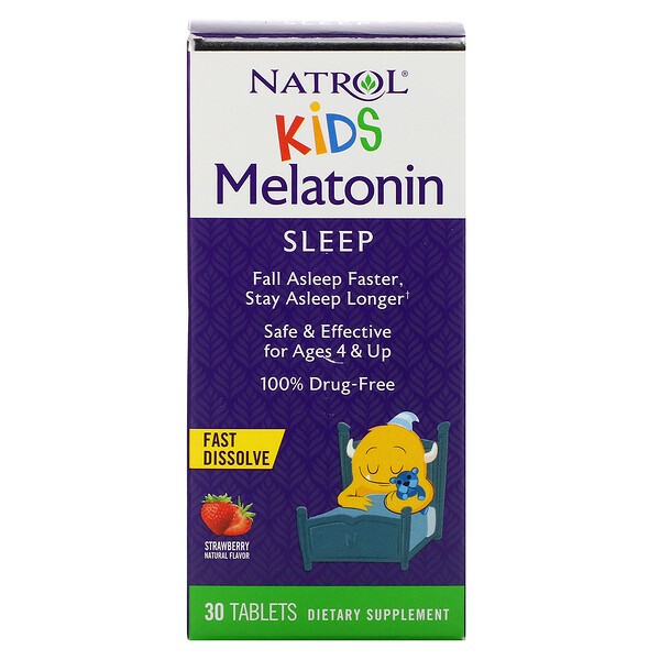 Natrol, Kids, Melatonin,  Fast Dissolve, Ages 4 & Up, Strawberry, 30 Tablets