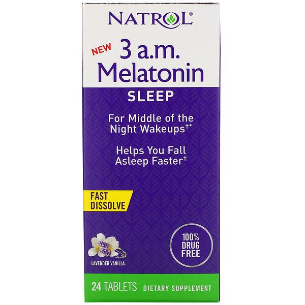 3 A.M. Melatonin, Fast Dissolve, Lavender Vanilla, 24 Tablets