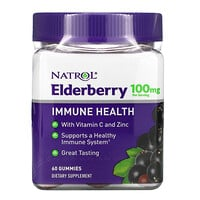 Natrol, Elderberry Immune Health, 100 mg, 60 Gummies