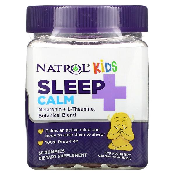 Kids, Sleep + Calm, Strawberry, Ages 4 + Up, 60 Gummies