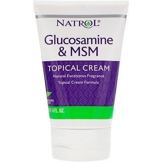 Natrol, 글루코사민 & MSM, 국소용 크림, 4 fl oz