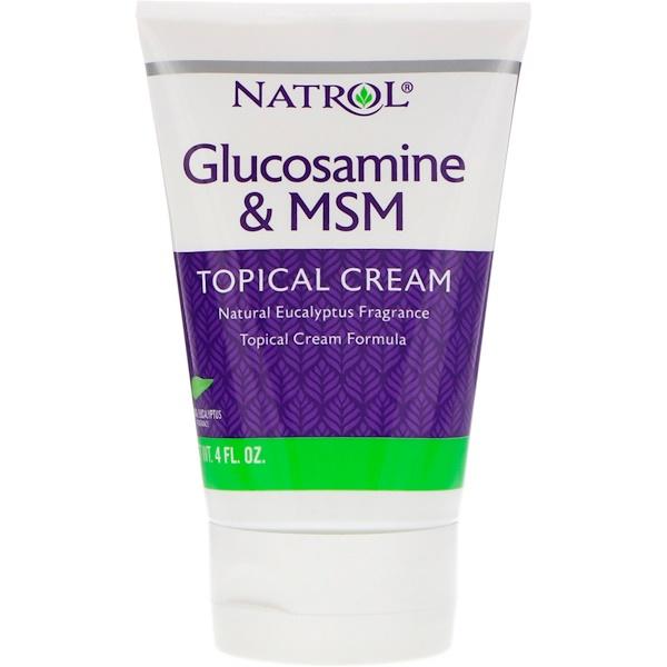 Natrol, グルコサミン & MSM、局部用クリーム、4液量オンス (Discontinued Item)