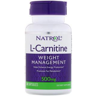 Natrol, L-カルニチン、500 mg、30カプセル