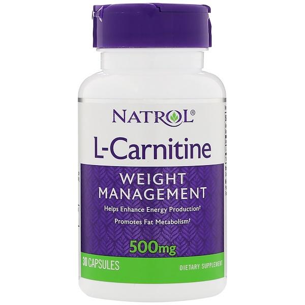 Natrol, L-карнитин, 500 мг, 30 капсул