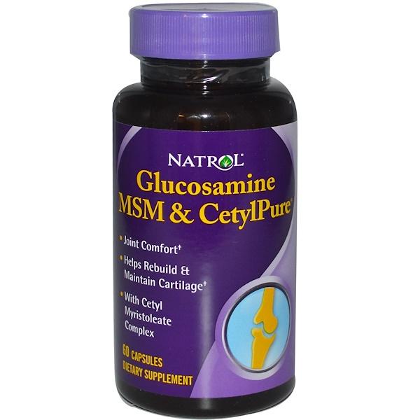 Natrol, Glucosamine, MSM & CetylPure, 60 Capsules (Discontinued Item)