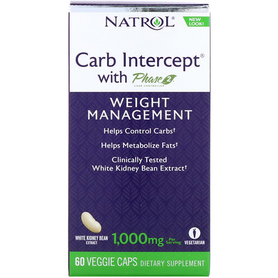 Carb Intercept с Phase2 CarbController, 1000мг, 60растительных капсул