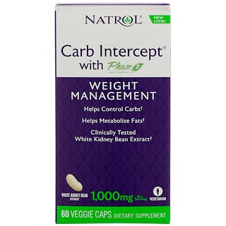 Natrol, Carb Intercept with Phase 2, Weight Management , 60 Veggie Caps