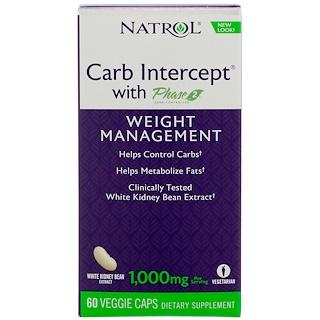 Natrol, カーブインターセプト(フェイズ2配合)、体重管理、植物性カプセル60粒