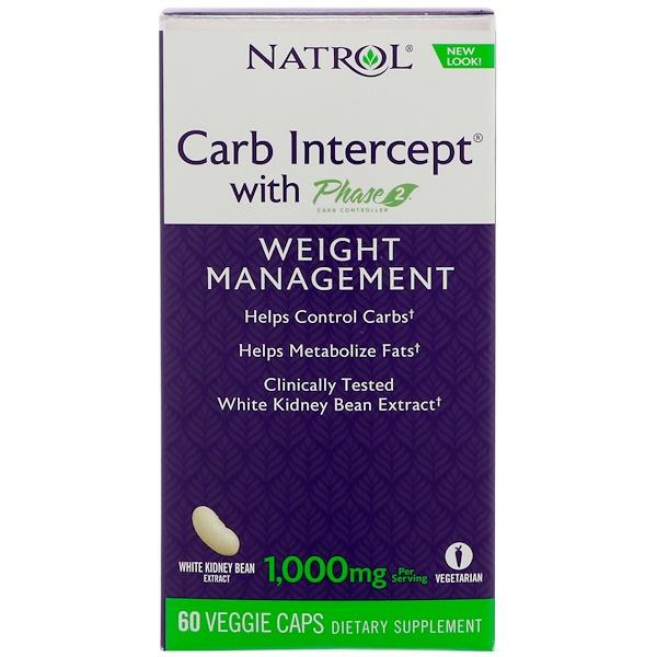 Natrol, Carb Intercept with Phase 2,體重管理,60粒素食膠囊