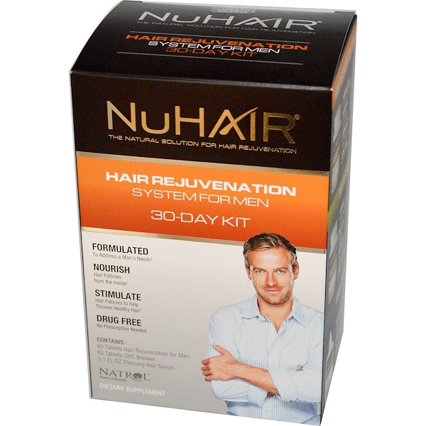 Natrol, NuHair, Hair Rejuvenation System for Men, 30-Day Kit (Discontinued Item)