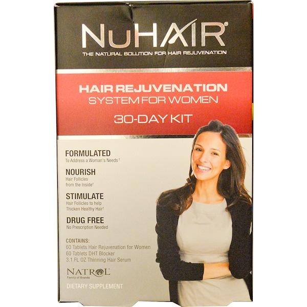 Natrol, NuHair, Hair Rejuvenation System for Women, 30-Day Kit (Discontinued Item)