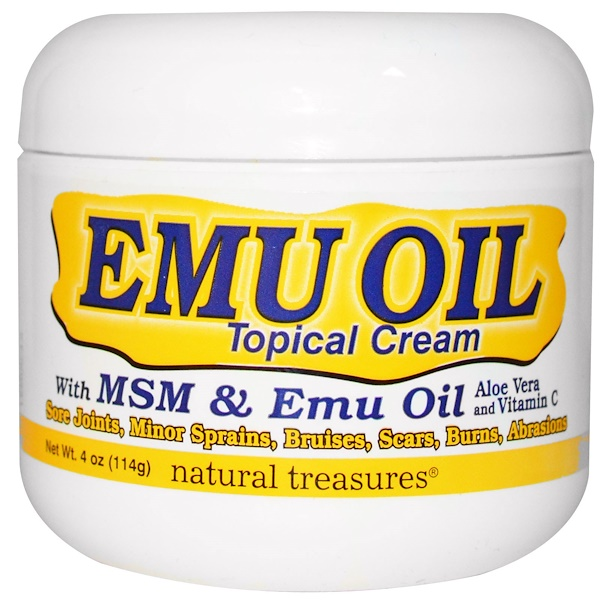 Natural Treasures, BNG, EMU OIL, Topical Cream, with MSM & Emu Oil, 4 oz (114g) (Discontinued Item)