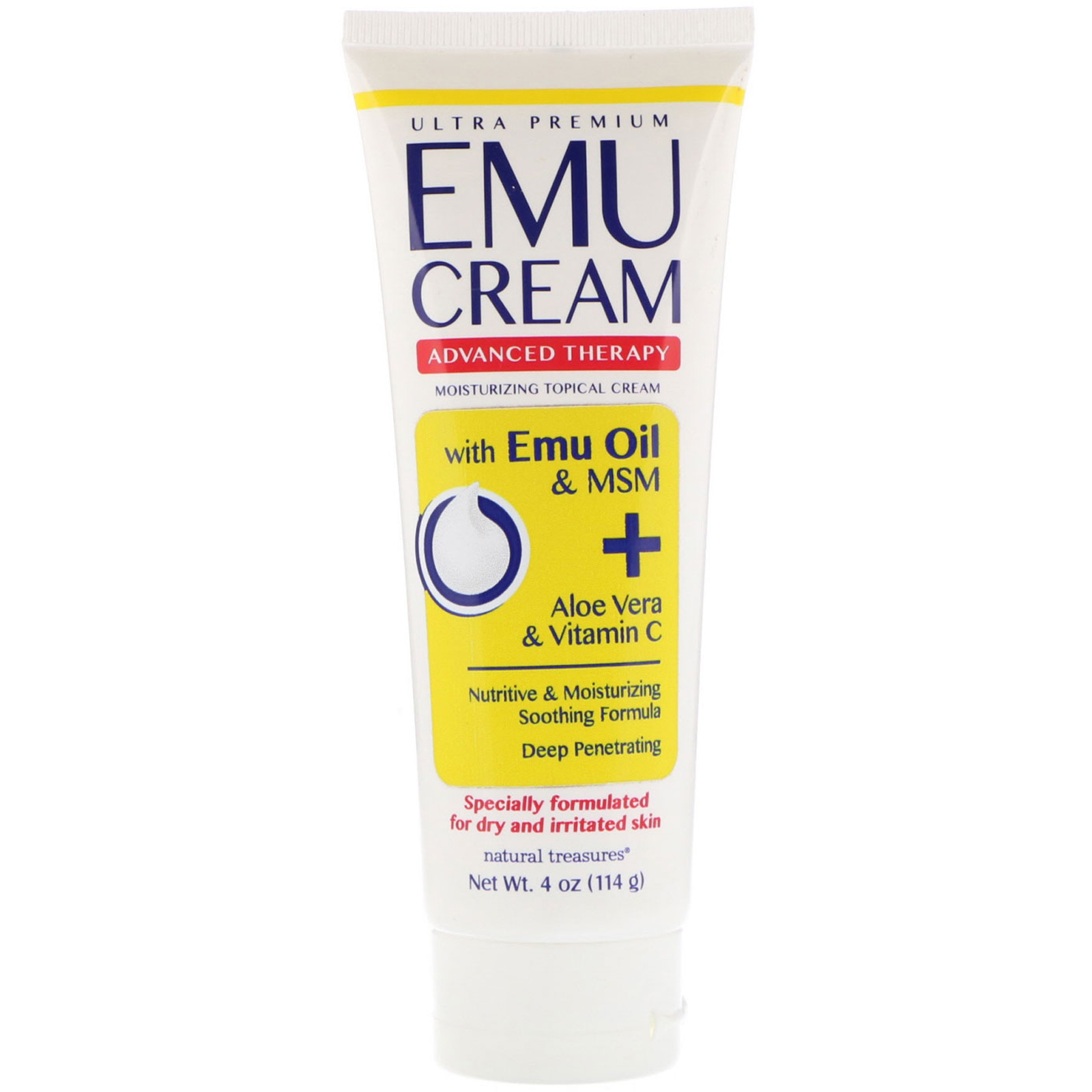 Natural Treasures, Emu Cream with Emu Oil & MSM + Aloe Vera & Vitamin C, 4  oz (114 g)