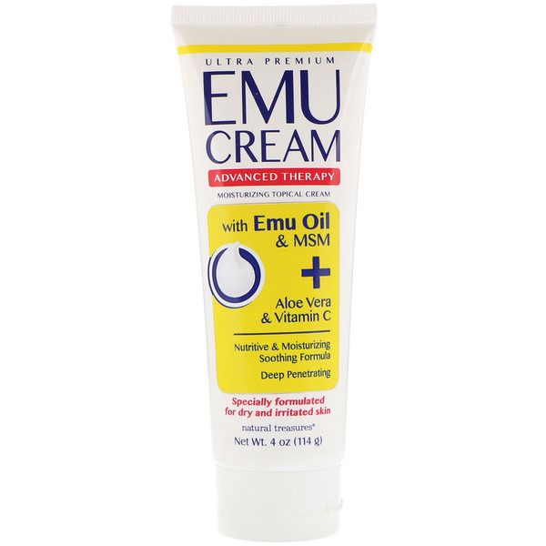 Natural Treasures, Emu Cream with Emu Oil & MSM +  Aloe Vera and Vitamin C, 4 oz (114 g) (Discontinued Item)