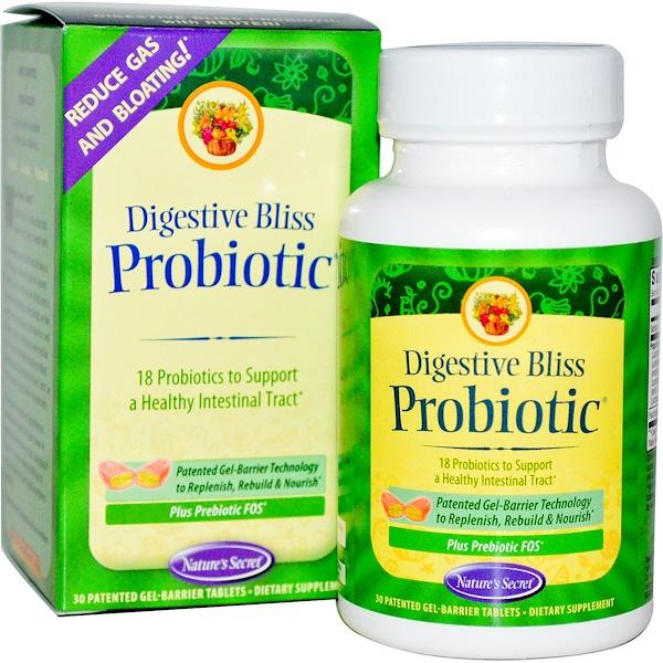 Nature's Secret, Пищеварительный пробиотик Bliss, 30 запатентованных таблеток в желатиновой оболочке