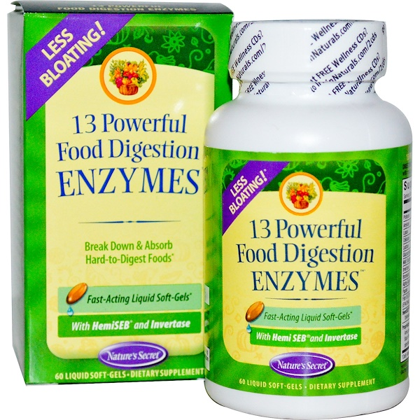 Nature's Secret, 13 Powerful Food Digestion Enzymes, 60 Liquid Soft-Gels (Discontinued Item)