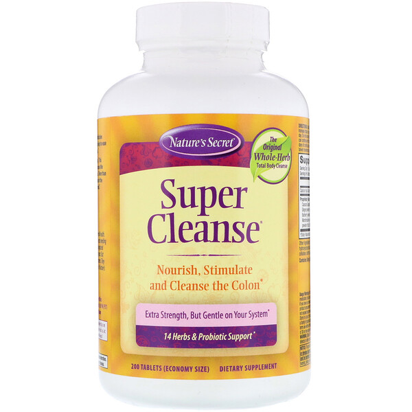 Nature's Secret, Súper Cleanse, 200 Tabletas