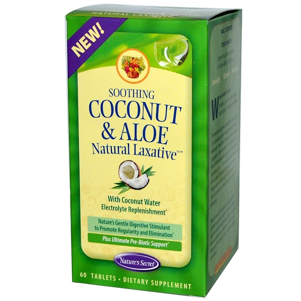 Nature's Secret, Soothing Coconut & Aloe Natural Laxative, 60 Tablets (Discontinued Item)
