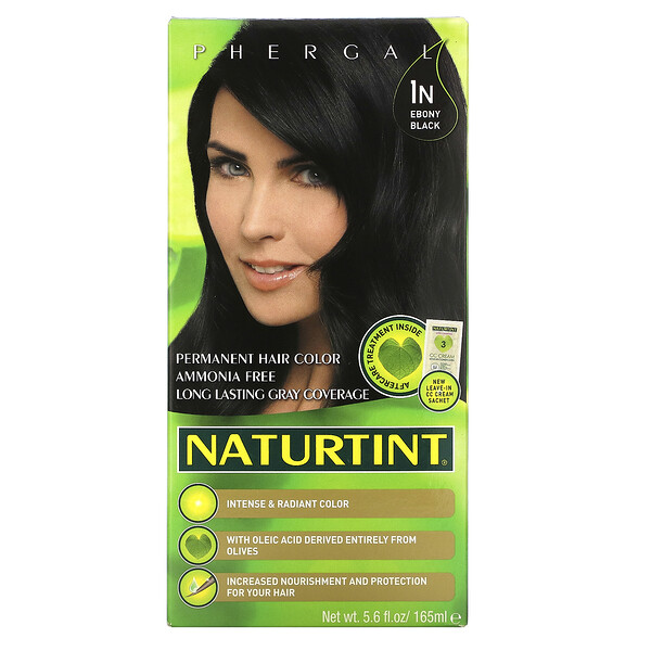 Naturtint, Permanent Hair Color, 1N Ebony Black, 5.6 fl oz (165 ml)