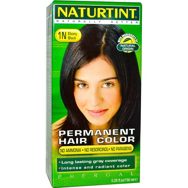 Naturtint, Permanent Hair Color, 1N Ebony Black, 5.28 fl oz (150 ml)