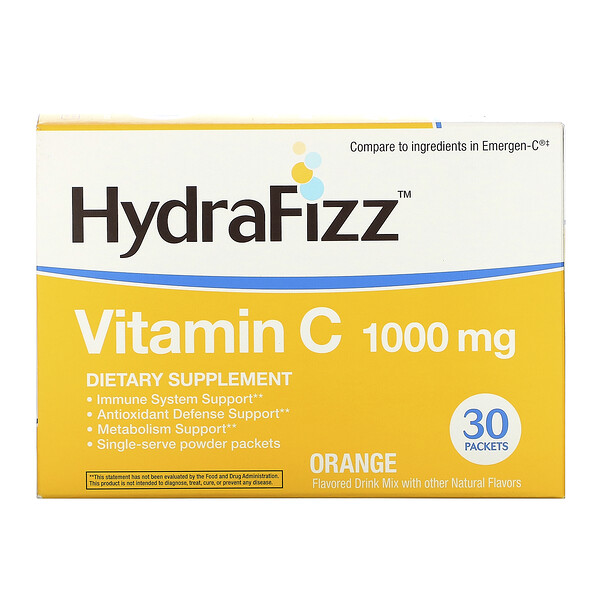 Naturally Vitamins, HydraFizz, Vitamin C, Orange, 1000 mg, 30 Packets