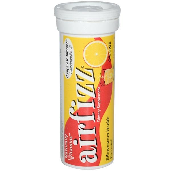 Naturally Vitamins, AirFizz, Effervescent Health Formula, Orange, 10 Tablets (Discontinued Item)