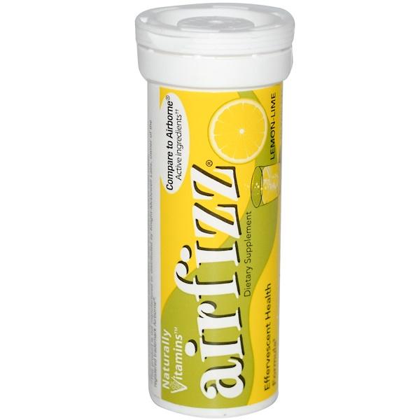 Naturally Vitamins, AirFizz, Effervescent Health Formula, Lemon-Lime, 10 Tablets (Discontinued Item)