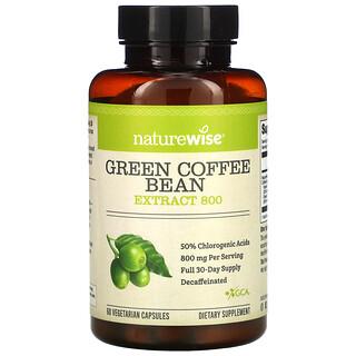NatureWise, Green Coffee Bean Extract, Grüner-Kaffeebohnen-Extrakt, 800 mg, 60 pflanzliche Kapseln