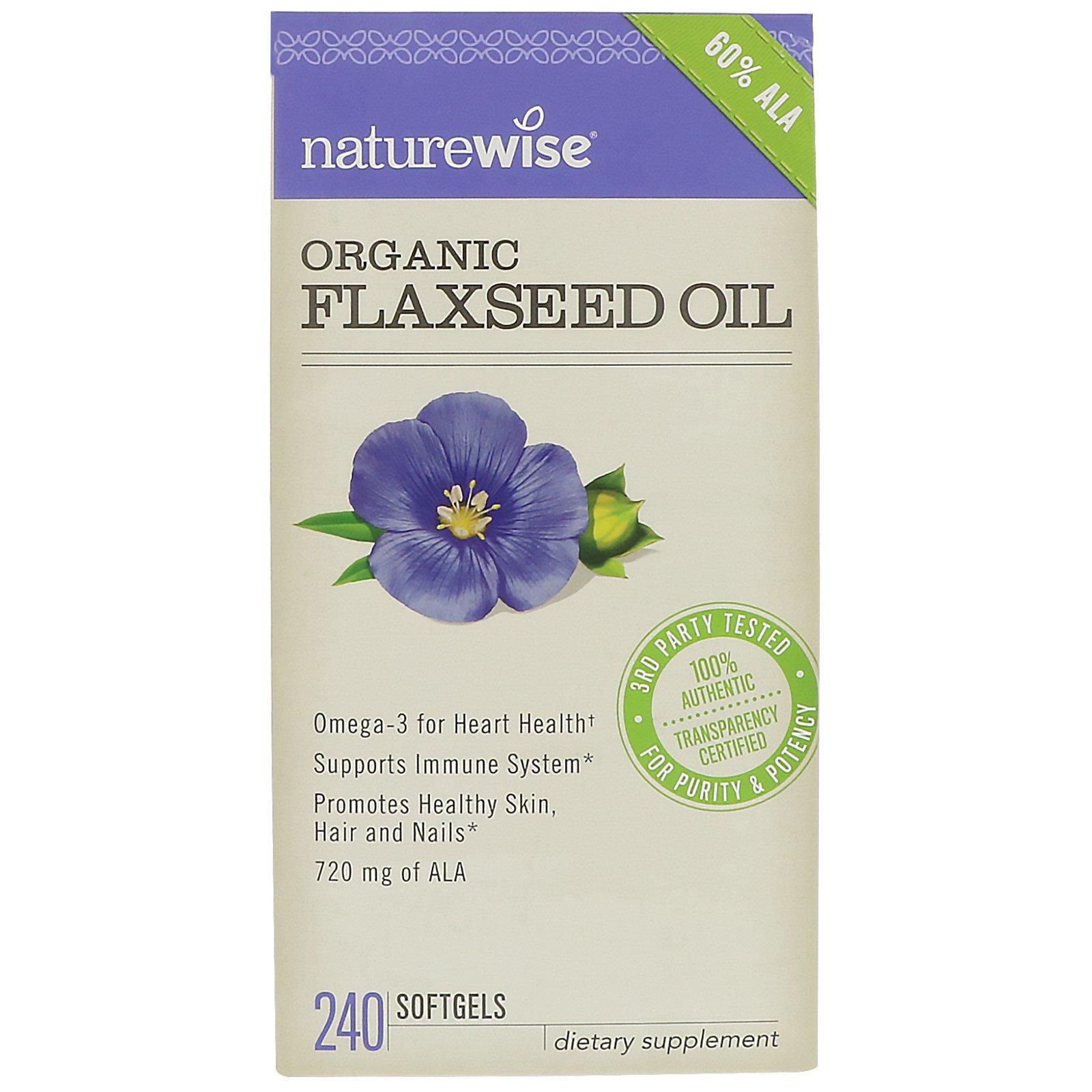 NatureWise, Organic Flaxseed Oil, 240 Softgels