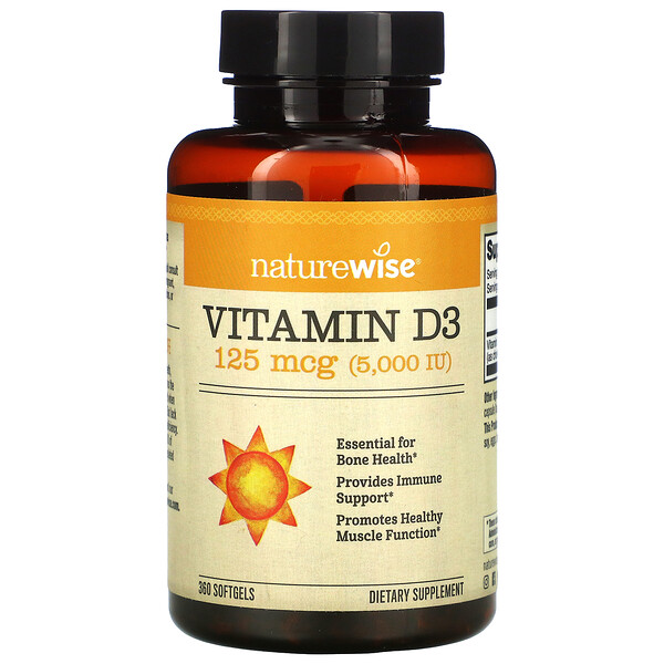 NatureWise, Vitamin D3, 125 mcg (5,000 IU), 360 Softgels
