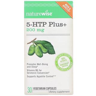 NatureWise, 5-HTP Plus+, 200 мг, 30 вегетарианских капсул